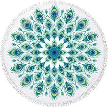 SIRCLE Geometric Beach Round Towels (Peacock Eyes)