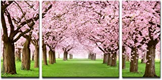 Noah Art-Rustic Landscape Art Print Japanese Cherry Blossom Sakura Tree Artwork Flowers Pictures on Canvas Prints 3 Piece Stretched Tree Wall Art for Bedroom Wall Decor Ready to Hang