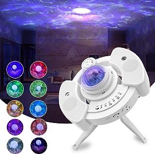 Proyector de Luz Estelar, FOCHEA 4 en 1 Lámpara Proyector Estrellas 14 Modos con Altavoz Estéreo Dual, Soporte de Trípode Ajustable para Coche, Habitación, Sala