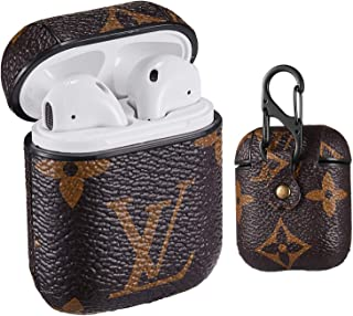 Gemfits Case Compatible with Airpods 1&2,Leather Luxury Elegant Character Design Cover, Girls Ladies Men Women Stylish Fashion Chic Cool Designer Skin Airpod,Cases for Shockproof Air pods Classic Logo