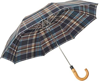 Compact Travel Umbrella with J Wood Handle, boy Plaid Pattern Automatic Open Windproof Large Folding Umbrella with Water Repellent Teflon Coating - Designed in Germany, Brown Blue