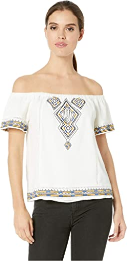 Off the Shoulder Aztec Embroidered Top