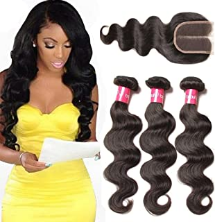 Dinoce Compatible with Longqi Brazilian Body Wave Virgin Human Hair 3 Bundles with Closure, Middle Part 4x4 Swiss Lace with Baby Hair 100% Unprocessed Remy Hair Weave Natural Black (14 16 18+12)