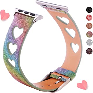 Glitter Band Compatible with Apple Watch Band 38mm 40mm 42mm 44mm, Shiny Bling Women Girls Leather Wristband Heart Sparkle iWatch Strap for iWatch Series 5 Series 4 Series 3 Series 2 Series 1