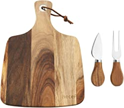Hecef Cheese Board Set of 3,a Acacia Wood Cheese Plate & a Cheese Knife & a Cheese Fork, Perfect Cheese Platter Slate Boar...