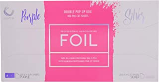 Colortrak Professional Dual Dispenser Pop-up Coloring/Highlighting Foil Sheets, Purple/Silver (400Count)