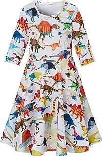 Enlifety Little Girls Kids Fall Casual Dresses 3/4 Sleeve Skirts Twirl Sundress Party Wedding Swing Frocks 4-13 Years