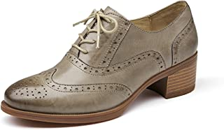 Honeystore Women's Retro Brogue Carving Leather Oxford Flats Lace Up Shoes