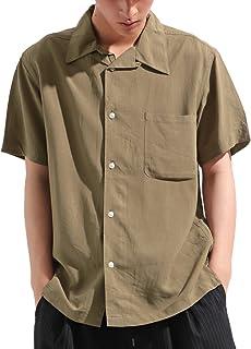 バレッタ レーヨン 半袖 オープンカラーシャツ ワイド ビッグ 無地 夏 メンズ