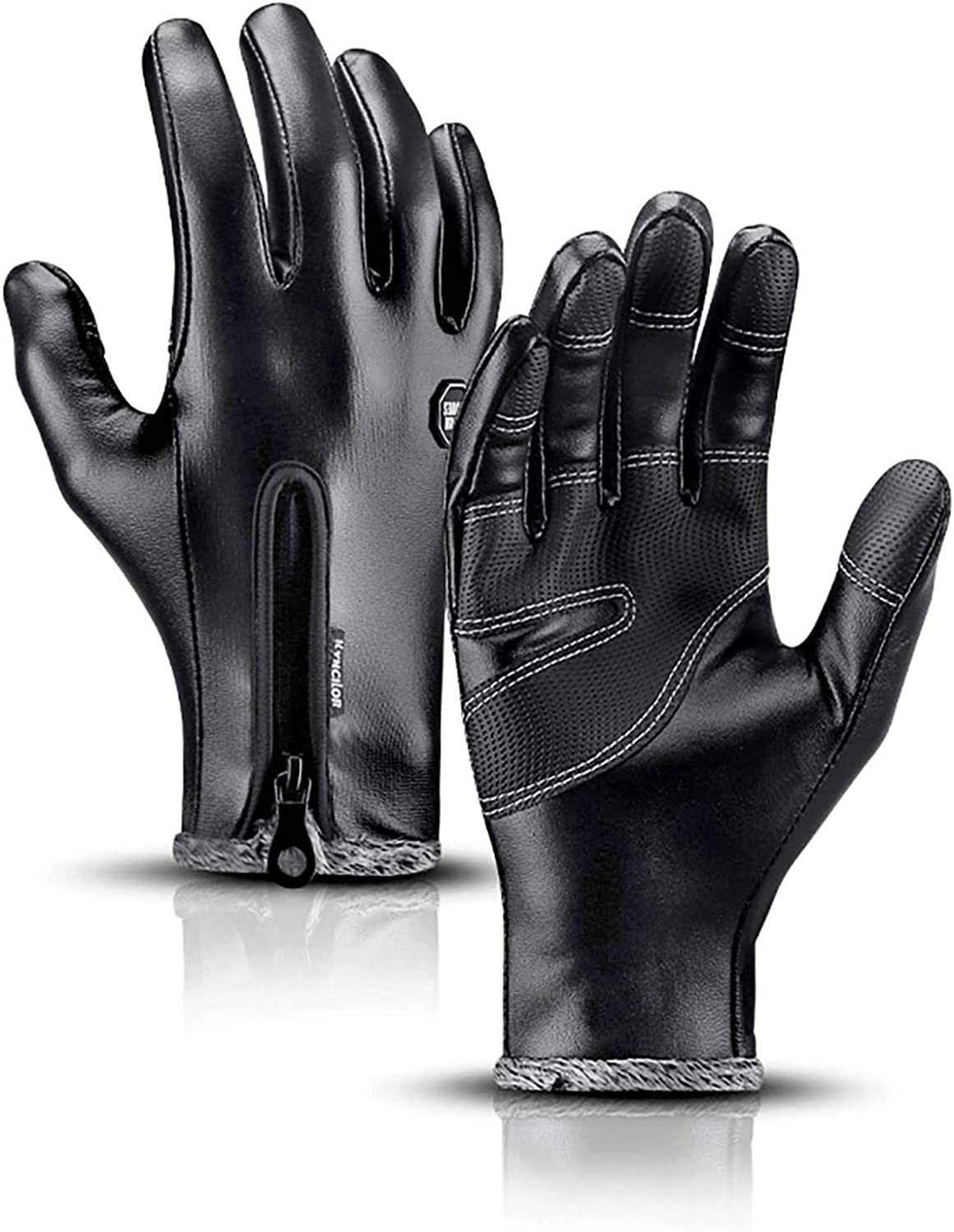 Newbeeler Black Leather Gloves for Men Steampunk Gloves Winter Riding Horse Riding Hiking Touchscreen Waterproof Cold Weather Gloves Hand Warmer Gloves