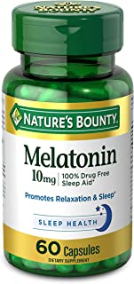 Melatonin by Nature's Bounty, 100% Drug Free Sleep Aid, Dietary Supplement, Promotes Relaxation and Sleep Health, 10mg, 60...