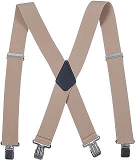 Men Utility Adjustable Elastic Suspenders - Heavy Duty 2 Inches Wide X-back Strong Clip Casual Suspender (Khaki)