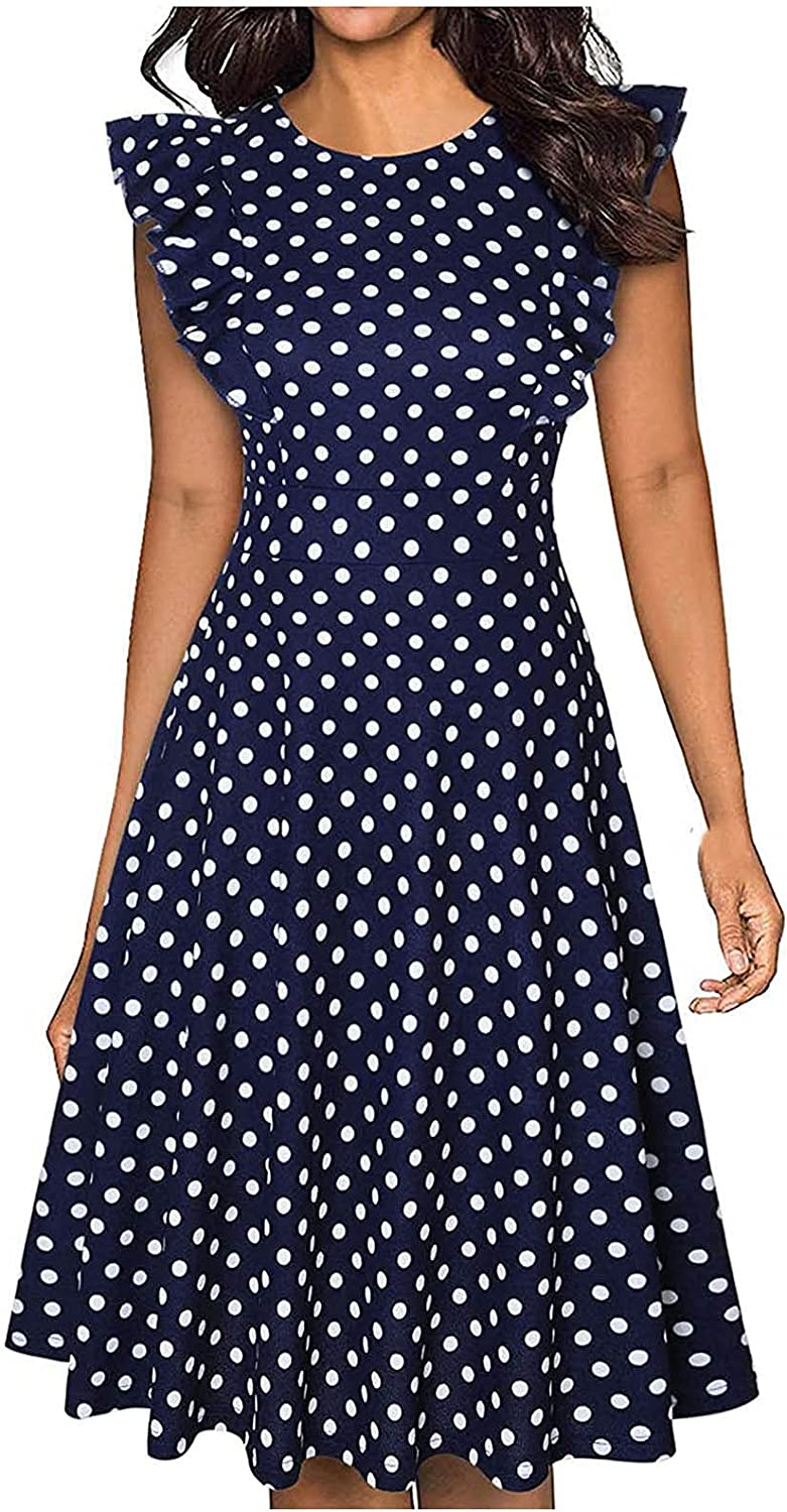 Women's Elegant Vintage Ruffle Sleeves Casual Work Party A-Line Vintage Cocktail Dress with Pockets