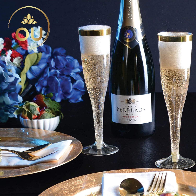 Verres /à champagne /él/égants en plastique Bordure en or rose /él/égante 184,3 g D/écorations de f/ête fantaisie Durables OUGOLD Lot de 30 fl/ûtes /à champagne /à paillettes dor/ées