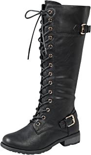 black strappy knee high boots