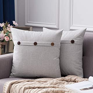 Best MIULEE Set of 2 Decorative Linen Throw Pillow Covers Cushion Case Triple Button Vintage Farmhouse Pillowcase for Couch Sofa Bed 18 x 18 Inch 45 x 45 cm Greyish White Reviews