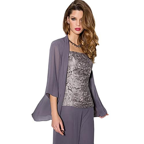 830fd16e712 Newdeve Purple Chiffon Lace 3 Pieces Mother of the Bride Pantsuits Dress  with Jacket