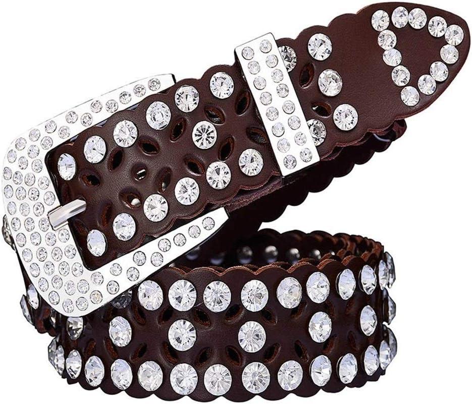 AOSUAI Fashion Rhinestone OFFicial Under blast sales Cow Genuine for Women Belts Lu Leather