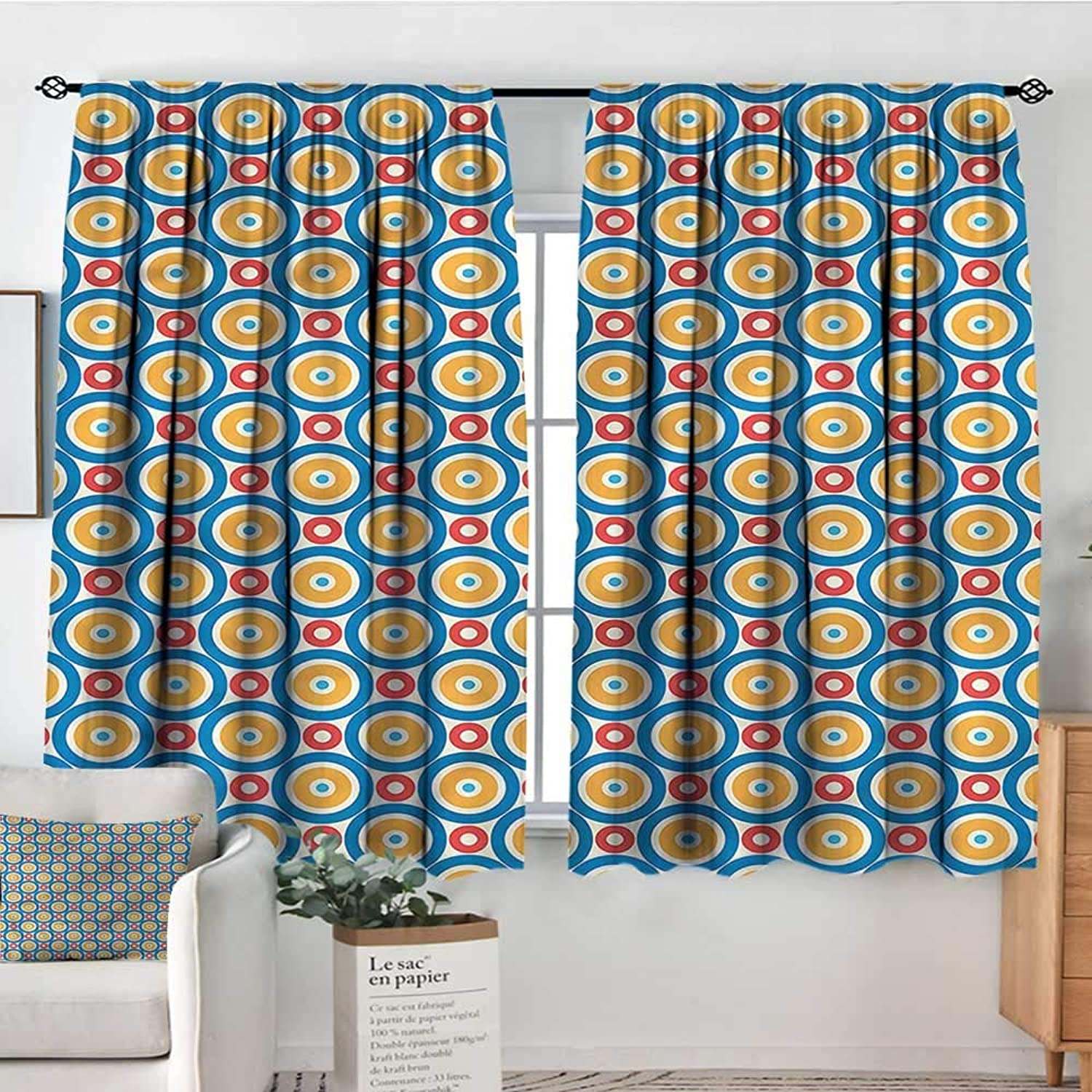 Sanring Kids,Modern Kids Curtain Big Small Circles and Dots 52 x63  Decorative Curtains for Iving Room