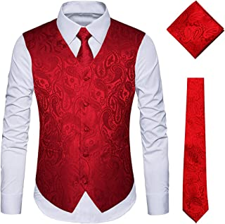 Men's 3pc Paisley Vest Necktie Pocket Square Set for Suit or Tuxedo