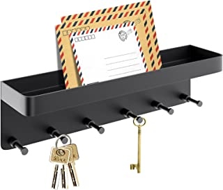 Sponsored Ad - LEVOTIYER Key Holder, Key Holder for Wall Decorative with 6 Hooks, Key Rack with Smart Shelf, Key and Mail ...