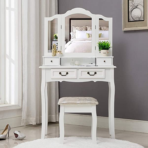Unihome Makeup Table With Mirror White Bedroom Dressing Table With 4 Drawers Compact Vanity Table For Women
