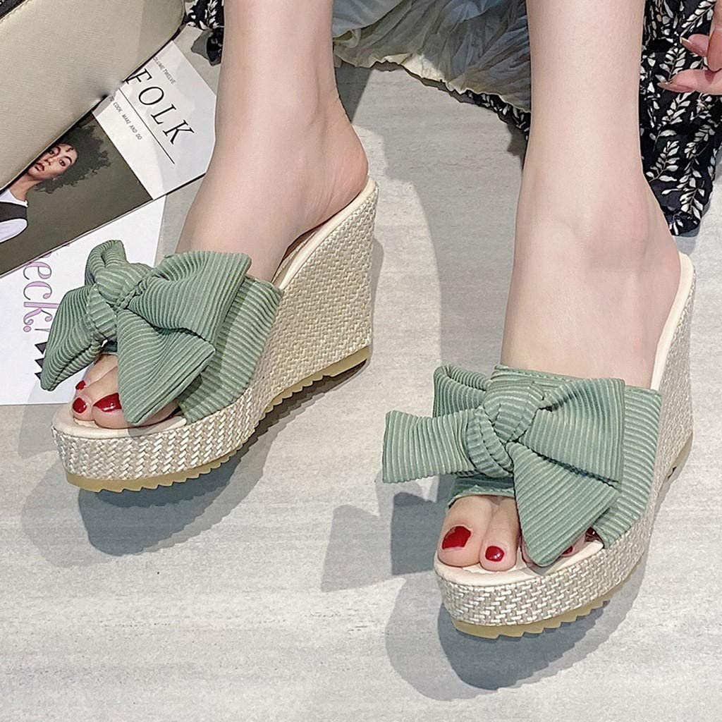 Dainzusyful Slippers,Womens Beach Bowknot Casual Summer Sandals Slip On Party Outdoor Slides Espadrilles Wedge Shoes