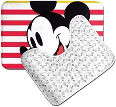 OKIJH Mickey Mouse Happy Time Bathroom Antiskid Pad Non-Slip Bath Carpet Floor Mat Rug 2 Sets -Floor Mat+U-Shaped Pad, Toilet Washable Blanket Mats for Bathroom Home Shower