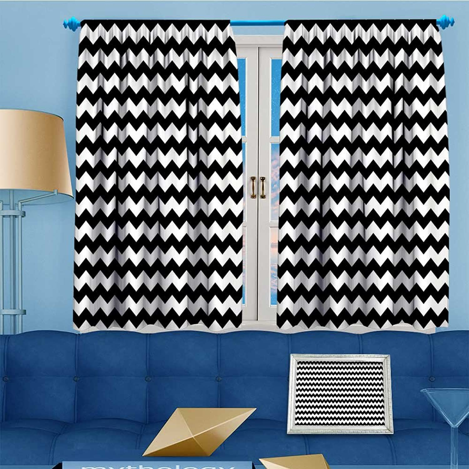 Thermal Insulated Blackout Window Room s in Sharp Arrow Inspired ClassicTile Monochrome Black White Top Extra Long Curtains Set of 2 Panels 55  W x 45  L