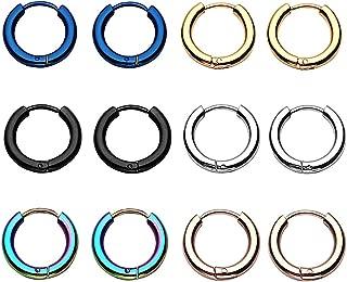 6 Pairs 18G 8mm-20mm Stainless Steel Mens Womens Endless Hoop Earrings Cartilage Piercing Rings