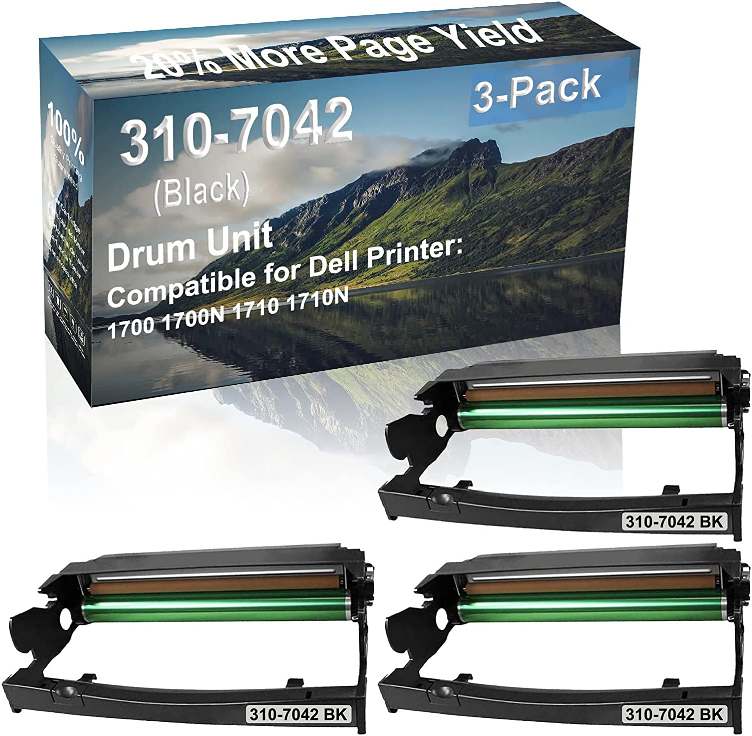3-Pack (Black) Compatible 1700 1700N 1710 1710N Printer Drum Unit Replacement for Dell 310-7042 Drum Kit
