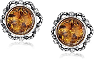 Amberta 925 Sterling Silver with Genuine Baltic Amber - Earrings for Women - Bloom Button Ball - Studs with Various Stone ...