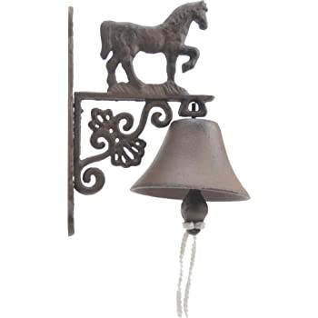 Rustic Cast Iron Cowbell Traditional Farmhouse Dinner Bell with Horse Accent 7 3//4 Inch