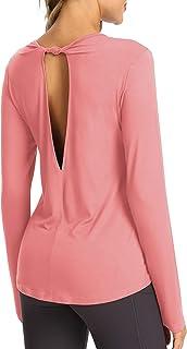 Bestisun Long Sleeve Workout Shirts for Women Open Back Shirts Long Sleeve Workout Clothes Yoga Tops for Women