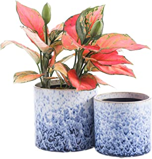 """KYY Ceramic Planters Garden Flower Pots with Drainage Hole 5.5"""" and 4.5"""" Modern Plant Pot Indoor Outdoor Set of 2 (Blue White)"""