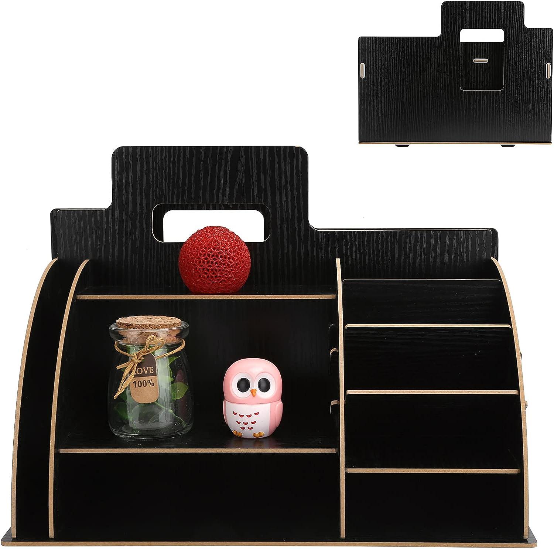 SALUTUY Tabletop Storage Shelf Wood Box Table Max 68% OFF Top unisex Deskt