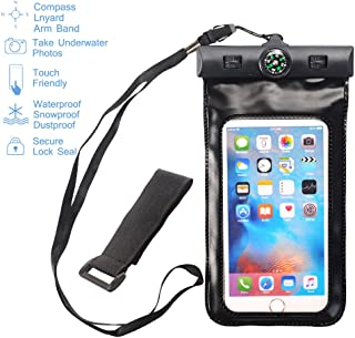 MCUK Universal Waterproof Case for iPhone 6S, 6 Plus, 5S,Galaxy S6, Note 4, LG G4 - Best Water Proof, Dustproof, Snowproof Pouch Bag - Includes FREE Armband + Compass + Lanyard (Black)