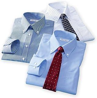 [nissen(ニッセン)] メンズ 大きいサイズ ワイシャツ 長袖 ボタンダウン 形態安定 抗菌防臭 セット 3枚組 紺ストライプ + 白×サックスストライプ + サックス系 3L 4L 5L 6L 7L 8L