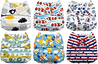 Mama Koala One Size Baby Washable Reusable Pocket Cloth Diapers, 6 Pack with 6 One Size Microfiber Inserts (Summer Sweetness)