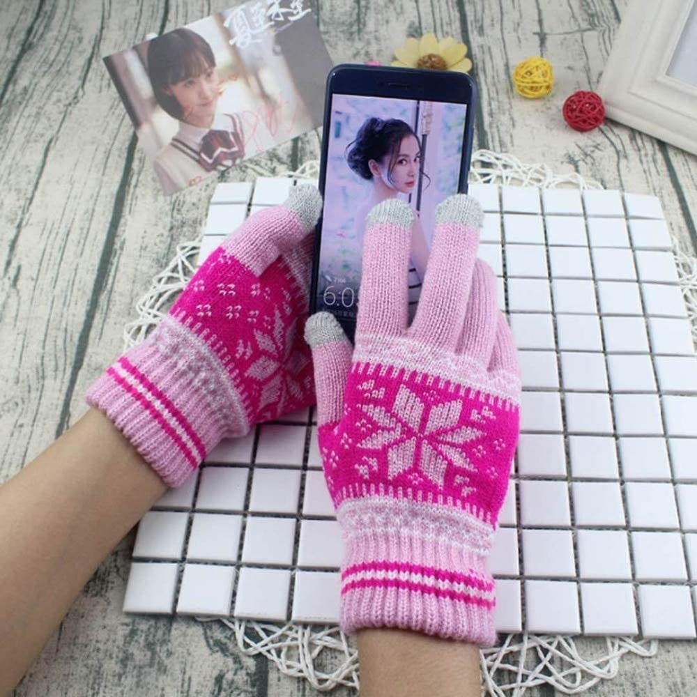 Women Men Popular Warm Winter Thick Gloves Wool Knitted Women Cold Winter Glove Snowflake Full Finger Mittens Mitaine Luvas - (Color: J, Gloves Size: ONE Size)