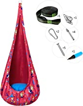 Greenstell Kids Pod Swing Seat with PVC Air Cushion and Hardware Kits, Child Hammock Chair Cartoon Printing Pattern for Indoor and Outdoor (Rose)