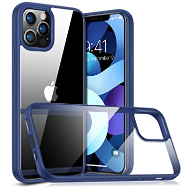 TORRAS Diamonds Series Compatible with iPhone 12 Pro Max Case 6.7 inch 2020, Slim Fit Thin Shockproof Hard Plastic Back & Flexible Bumper Case, Navy Blue
