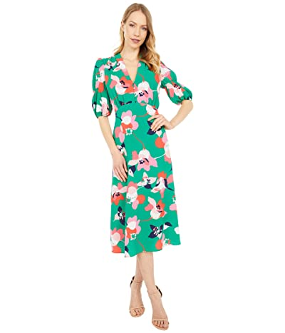 Vince Camuto Printed Pebble Crepe V-Neck Midi with Self Covered Buttons At Bodice (Green Multi) Women