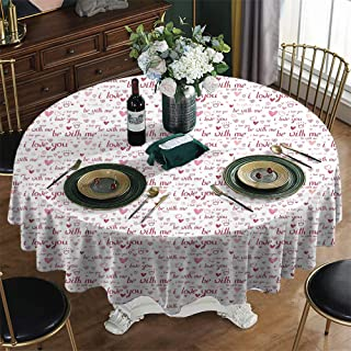 UETECH Fabric Round Tablecloth Christmas I Love You Hand Drawn Style Hearts Gems and Engagement Wedding Rings Be with Me Text Maroon Pink Blush Plastic Table Cloth Diameter 70