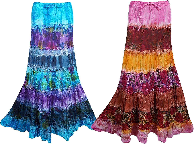 Mogul Interior 2 pc Womens Maxi Skirt Tie Dye Draw String Boho Flare Cotton Broomstick Long Skirts S M L bluee, Brown