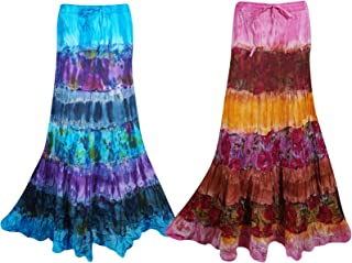 Mogul Interior 2pc Womens Maxi Skirt Tie Dye Boho Beach Flare Cotton Boomstick Long Skirts M/L Brown,Blue