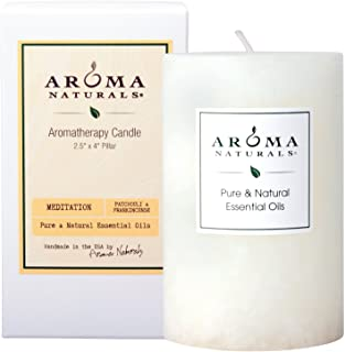 Aroma Naturals Patchouli and Frankincense Essential Oil White Scented Pillar Candle, Meditation, 2.5 inch x 4 inch