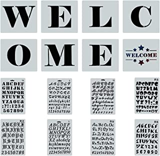Reusable Welcome Sign Stencils for Painting on Wood, 8 PCS Large Individual Templates + 8 PCs Letters Stencils with Numbers and Signs for Hotel Home Porch Sign Halloween Thanksgiving Xmas Decorations