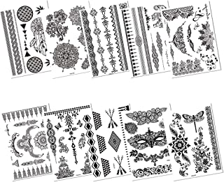 c32c0130c 10 Sheets Hannah Tattoo Stickers for Women,Finger Eyes Arm Wrist Black Lace  Mehndi Temporary
