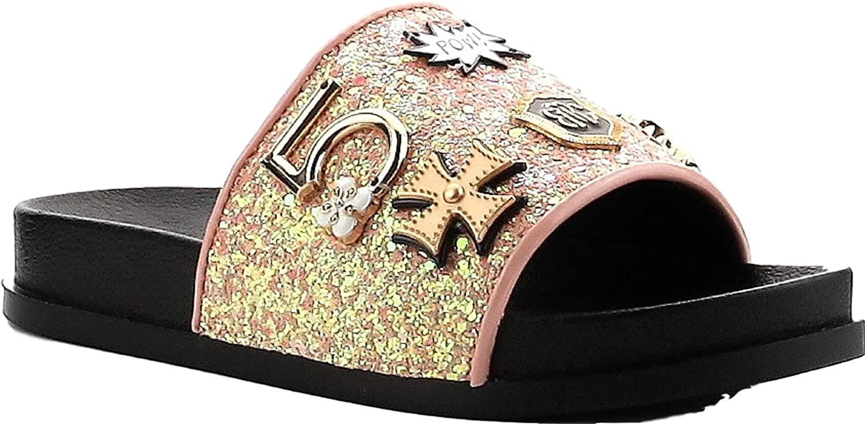 Cape Robbin Moira-25 Women Slides Flip Flop Glitter Metal Pendant Ornament Sandal Pink